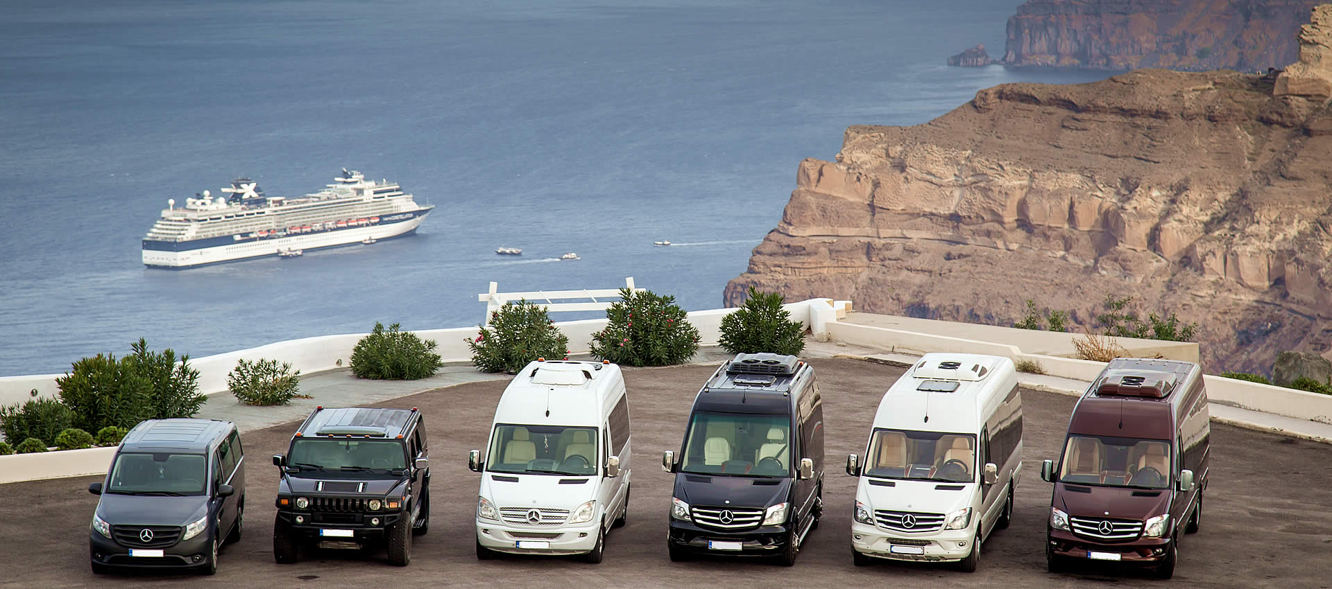 Luxurious VIP transfers in Santorini, services for weddings, tours, conferences, limos for weddings in Santorini